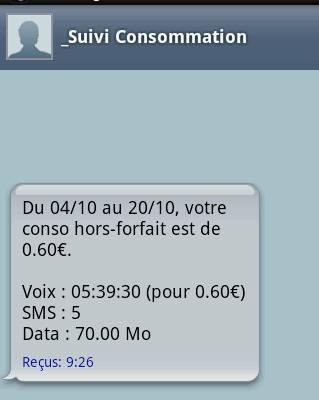 word et web Telephonie mobile free suivi consommation  reception conso par sms FR